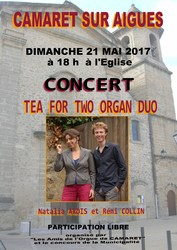 """TEA FO TWO ORGAN DUO"" EN CONCERT A CAMARET LE 21 MAI"