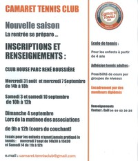 INSCRIPTIONS AU TENNIS CLUB